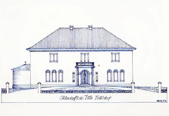 Bauzeichnung der Villa aus dem Jahr 1927 von Architekt Erich Elingius