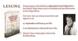 """Lesung: Rainer Hüls aus seinem Buch """"Frühling aus der Asche"""" @ Ohlendorffsche Villa"""