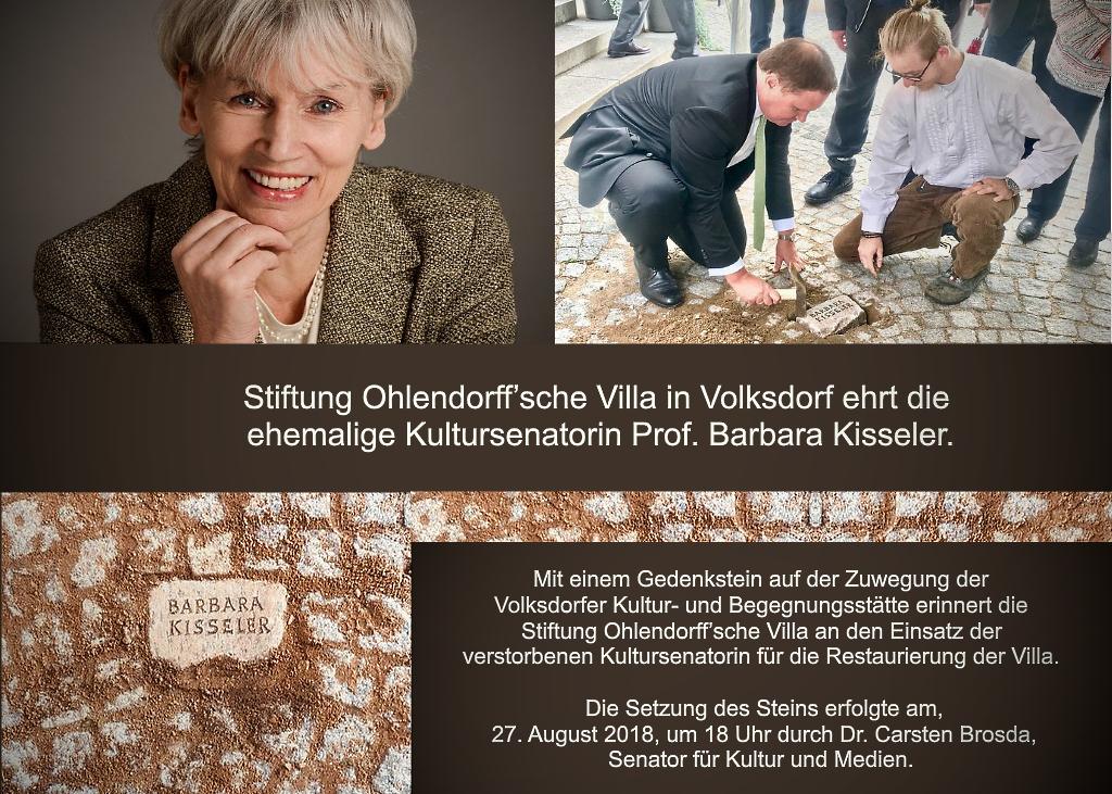 Stiftung Ohlendorff'sche Villa in Volksdorf ehrt die ehemalige Kultursenatorin Prof. Barbara Kisseler.