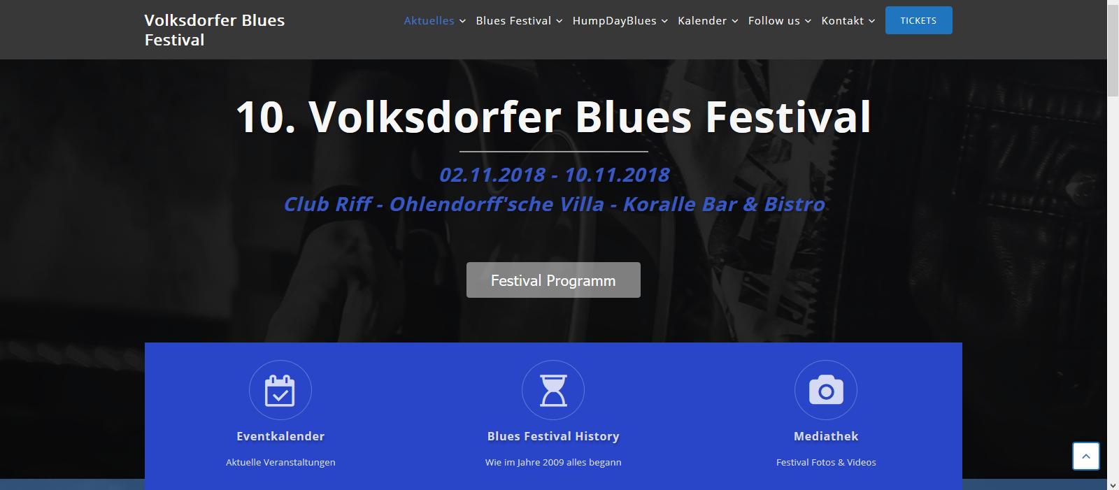 Die neue Homepage vom Volksdorfer Blues Festival